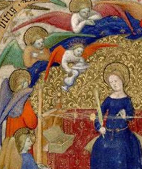 1410-1415 Maitre de la Mazarine Annonciation Heures Mazarine, Mazarine MS 469 fol 13 detail ange