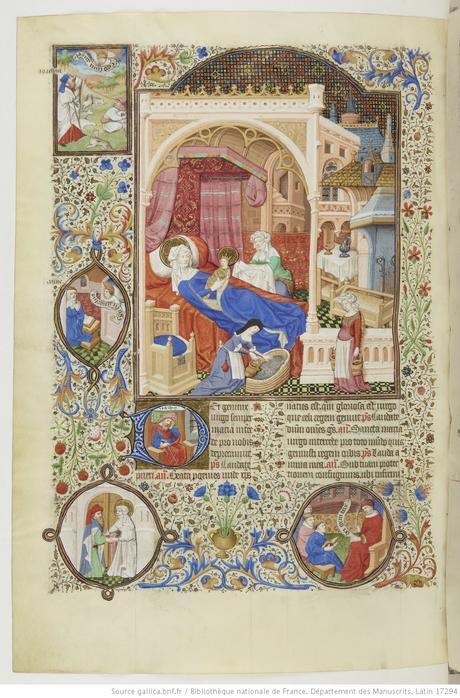 Maitre de Bedford (atelier), 1424-1435, Breviaire de Salisbury, pour le duc de Bedford BNF Lat 17294 fol 566v Naissance de Marie gallica