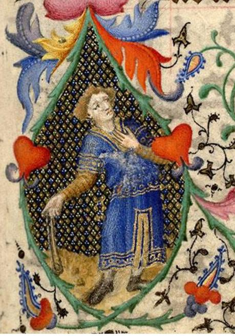 0-1415 Maitre de la Mazarine Heures Mazarine, Dieu apparaissant a David Mazarine MS 469 fol 83 detail2