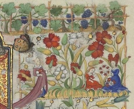 Heures de Marguerite d'Orleans 1430 ca BNF Latin 1156B fol 31r Gallica detail oeillets