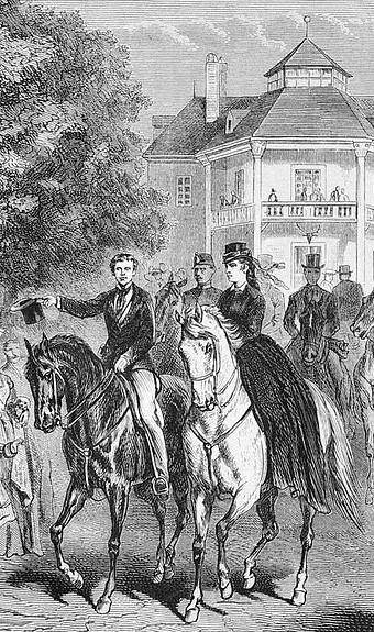 Sisi und Rudolf am Lusthause des Wiener Praters — Sissi et son fils en promenade équestre au Prater