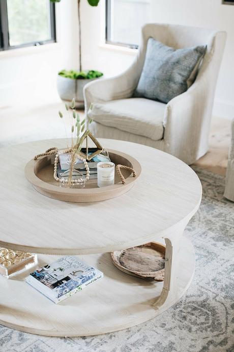 déco bord de mer table basse ronde bois flotté blanc
