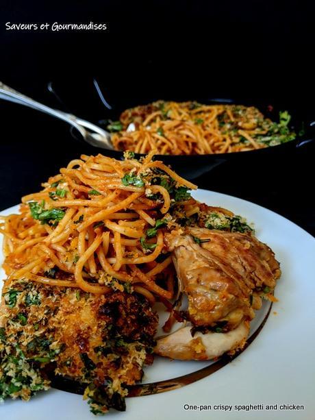One-pan crispy spaghetti and chicken. Spaghettis et Poulet croustillants.