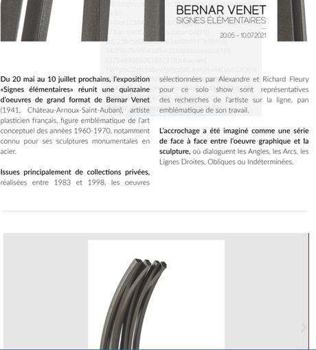 Galerie Fleury à partir du 20 Mai 2021 Exposition Bernar VENET