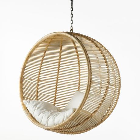 chaise suspendu boule rotin bambou design bohème