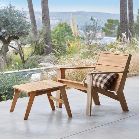 chaise longue en bois repose-pied minimaliste style japandi