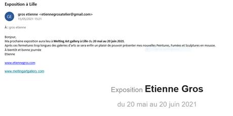 Exposition Etienne GROS à Lille -20 Mai au 20 Juin 2021 -Melting Art Gallery