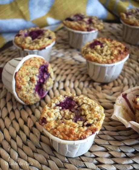 Muffins aux flocons d'avoine et aux framboises