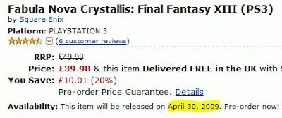 Amazon UK annonce Final Fantasy XIII en avril 2009 !