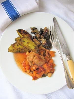 Sauté de porc épicé aux aubergines & pois chiches