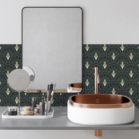 Crédence Adhésive vinyle art deco vert robinet cuivré miroir rond rectangulaire