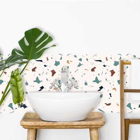 fresque papier peint tendance terrazzo décoration intérieure salle de bain tabouret bois