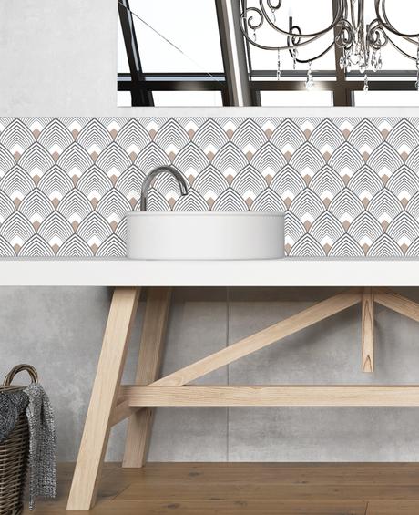 fresque salle de bain motif art deco gris noir beige double vasque
