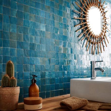 mosaïque crédence bleu deco cactus miroir rond boisé deco estivale