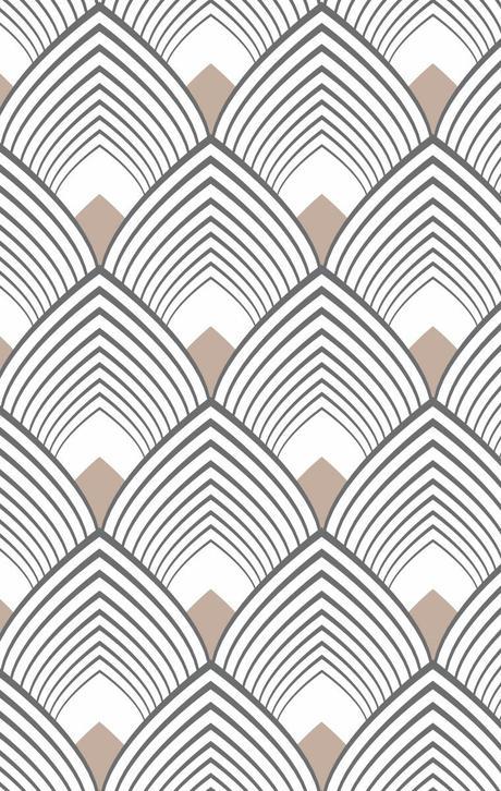 motif néo art déco éventail chevron palmier or beige noir