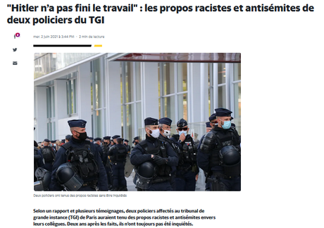 L'insupportable impunité des policiers nazis (le racisme systémique dans la police n'existe pas, suite mais pas fin)