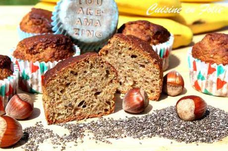 Muffins banane, noisette et graines de chia