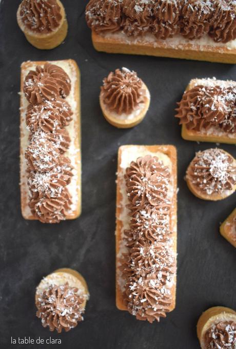 Tartelettes mousse noix de coco et ganache montée chocolat noir