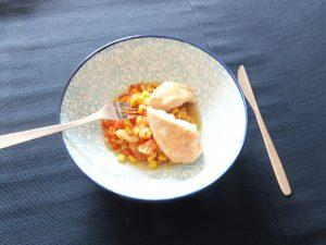 Recette de Poulet aux poivrons et maïs