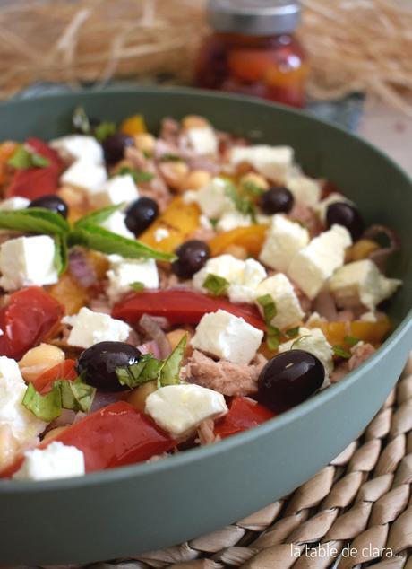 Salade de pois chiches aux poivrons grillés