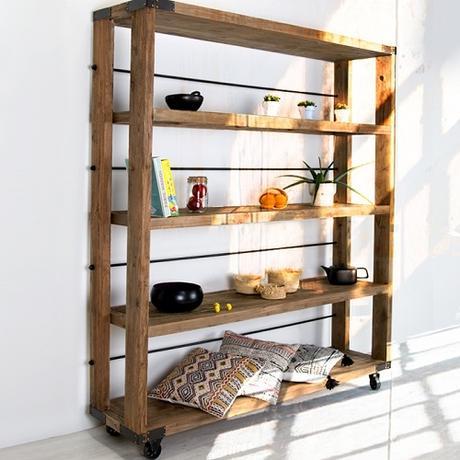étagère en bois et métal industrielle
