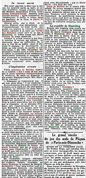 On va enfin connaître le secret de Mayerling ! Un article à sensation de Paris-soir (4 avril 1937)