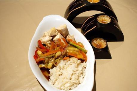 recette du jour: Poulet sauce aigre-douce, légumes vapeur et riz  au thermomix de Vorwerk