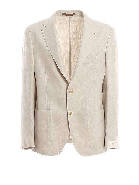 veste en lin beige pour homme