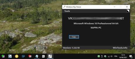 Windows Key Viewer - afficher/copier la clé de Windows