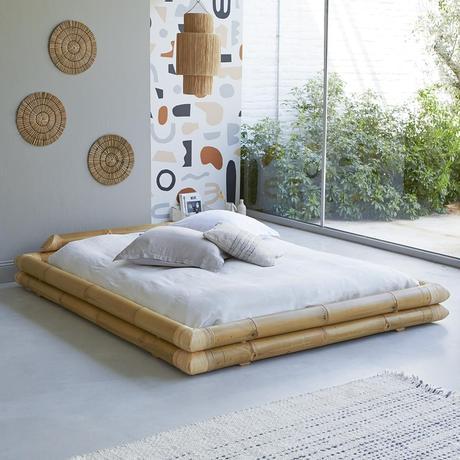 lit futon bambou déco murale ronde suspension fibre naturelle baie vitrée