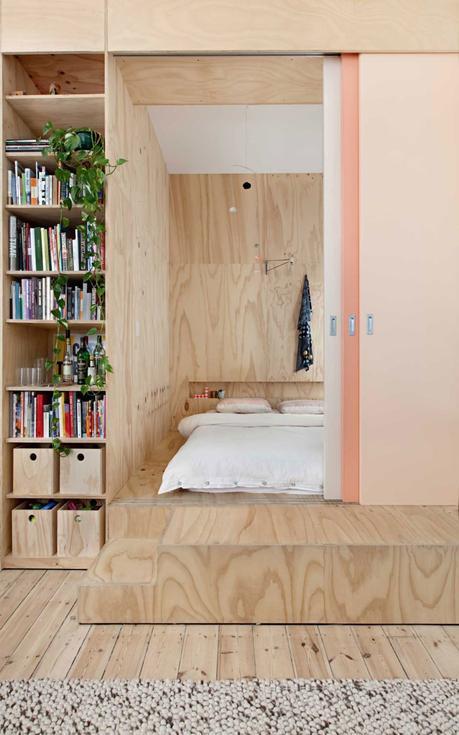 chambre total look bois lit estrade matelas sol cloison amovible