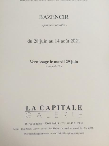 Galerie La Capitale  exposition  BAZENCIR 28 Juin au 14 Août 2021