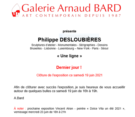 Galerie Arnaud BARD exposition Philippe Desloubières  (derniers jours )