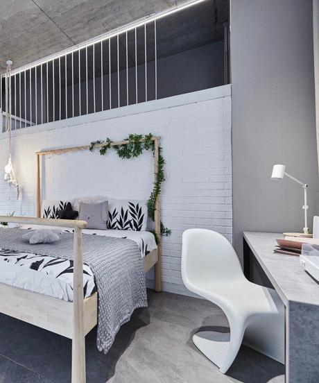 loft à Bucarest chambre enfant béton design chaise panton vitra