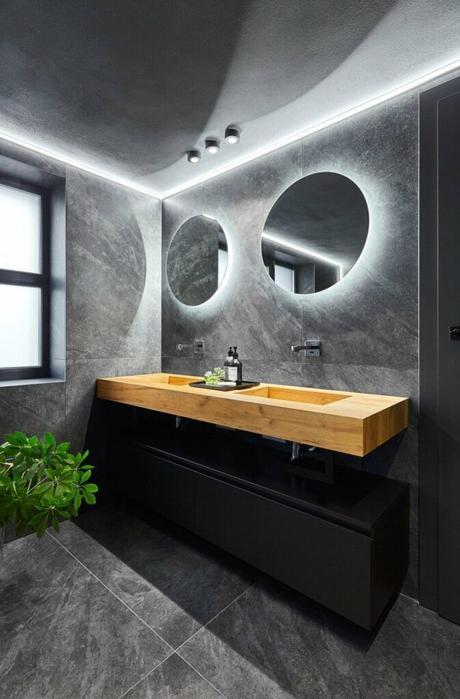 salle de bains bois gris foncé béton - blog déco - clem atc