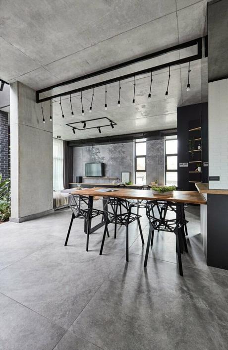 salle à manger table plateau bois pied métal noir chaise plastique design ajourée