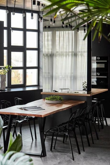 cloison miroir séparer table repas espace cuisine ouverte