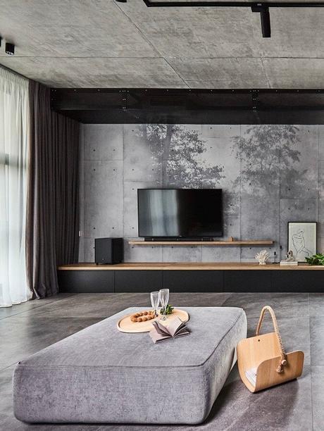papier peint panneau fresque murale dessin forêt meuble tv suspendu étagère bois