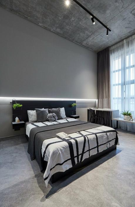 chambre grise noire déco comme à l'hôtel design épuré