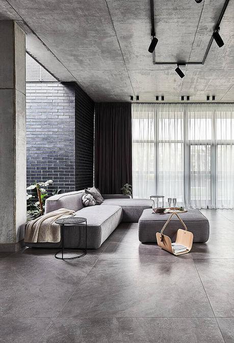 loft à Bucarest idée déco salon gris - clem around the corner