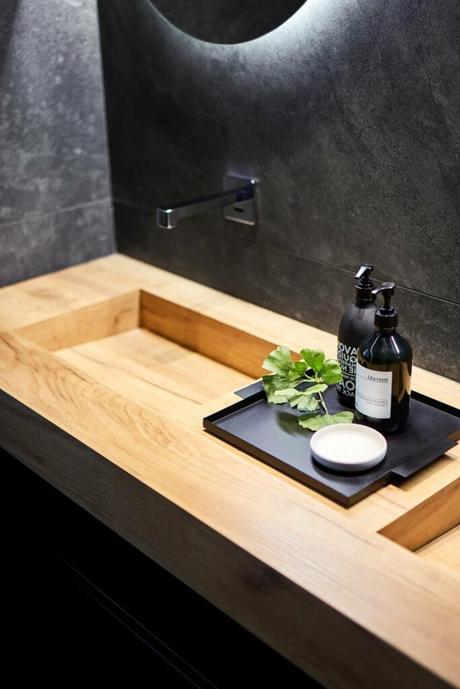vasque salle de bain effet bois trompe oeil - blog déco
