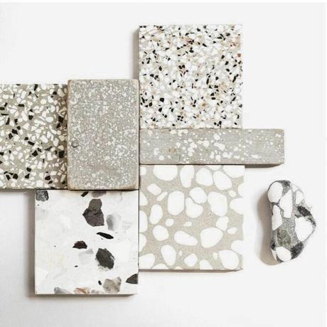 terrazzo fragment carreaux noir blanc gris