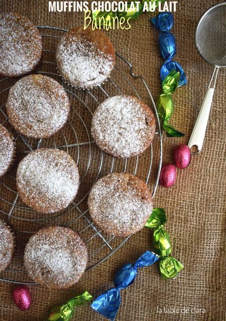 Muffins chocolat au lait et bananes