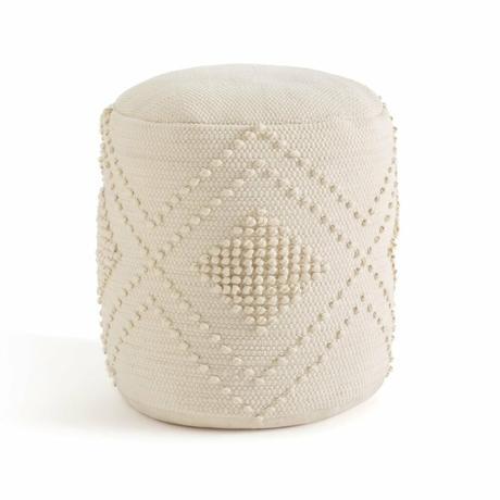 pouf tricot rond beige bohème pompon chic