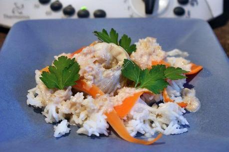 recette du jour: Cabillaud au cidre avec son riz et des tagliatelles de carotte  au thermomix de Vorwerk