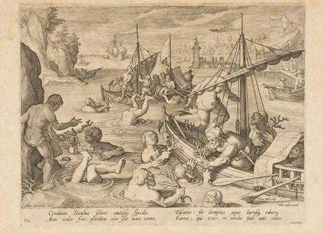 La pêche au corail, Par Philippe Galle D'après Jan van der Straet, dit Stradanus