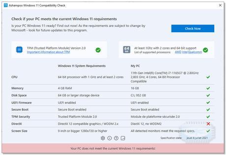 Ashampoo Windows 11 Compatibility Check - analyseur de compatibilité de PC à Windows 11 ??