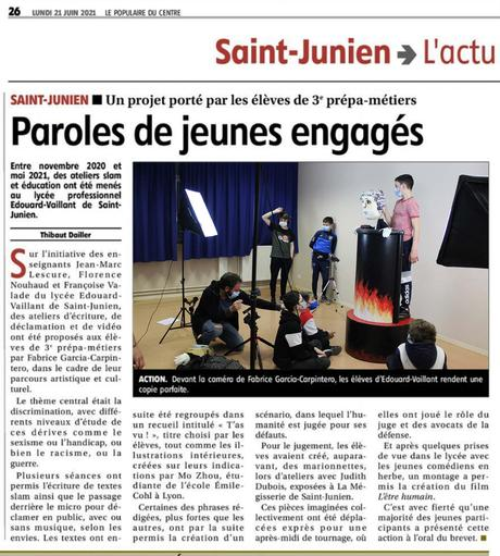 Atelier d'écriture et d'éducation à l'image à Saint-Junien