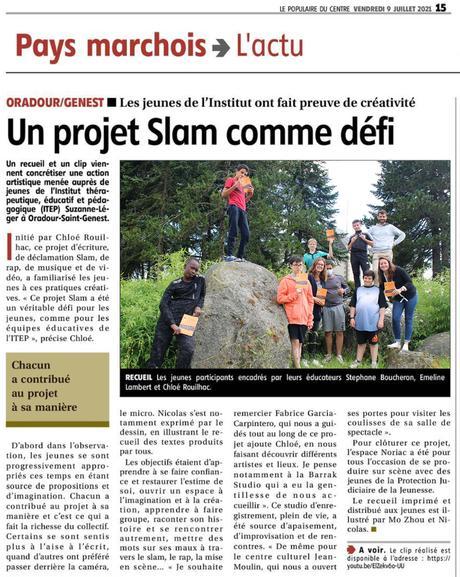 Atelier Slam à l'ITEP Suzanne Léger d'Oradour-Saint-Genest