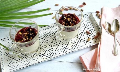 Panna cotta pistache et compotée de cerises